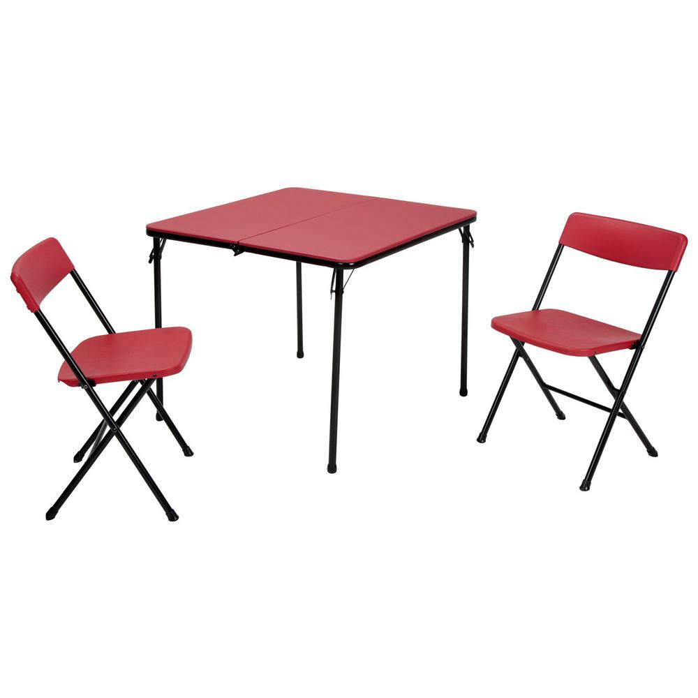 Cosco 3-Piece Red Fold-in-Half Folding Table Set