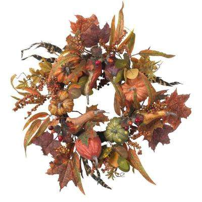 24 in. Artificial Wreath with Pumpkins, Berries, and Maple Leaves