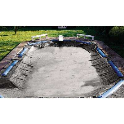 21 ft. x 37 ft. Rectangular Green In-Ground Super Deluxe Winter Pool Cover with Left Hand Step