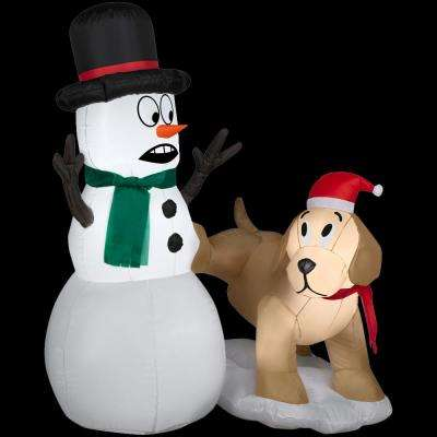 4 ft. W x 4 ft. H Inflatable Golden Retriever with Snowman