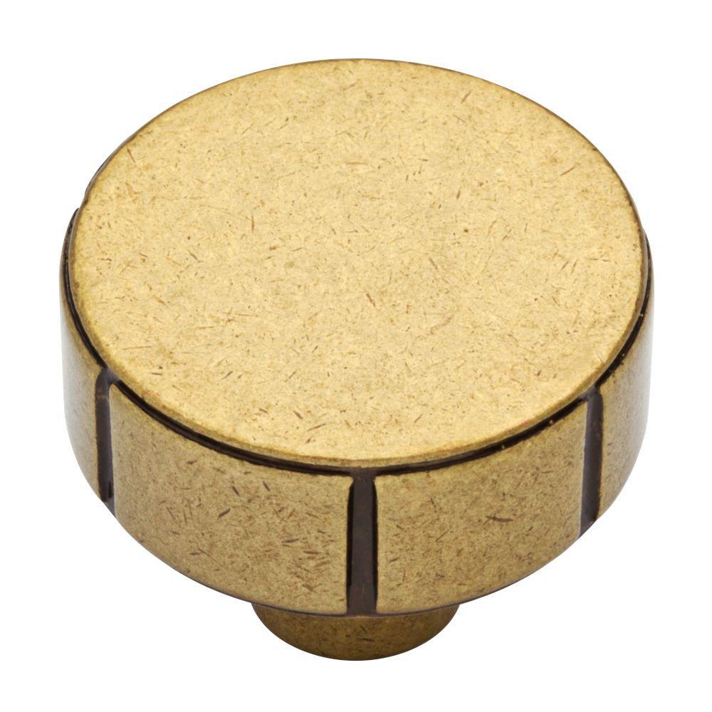 Martha Stewart Living Rustic Industrial 1-1/4 in. (32mm) Bedford Brass Round Cabinet Knob