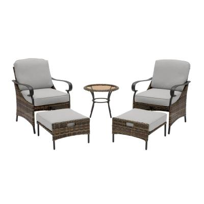 Layton Pointe 5-Piece Brown Wicker Outdoor Patio Conversation Seating Set with CushionGuard Stone Gray Cushions