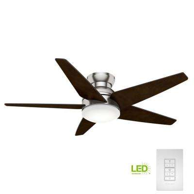Isotope 52 in. LED Indoor Brushed Nickel Ceiling Fan with Light and Wall Control