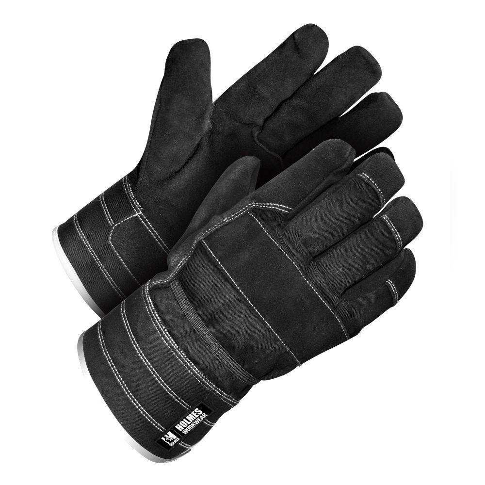 Holmes Workwear One Size Fits Most Black Split Leather Glove with Safety Cuff