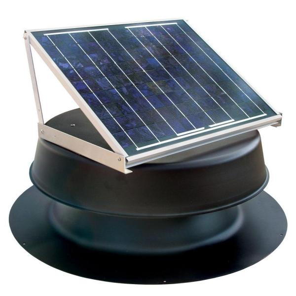 1339 CFM Black Aluminum Solar Powered Attic Fan with Adjustable Solar Panels