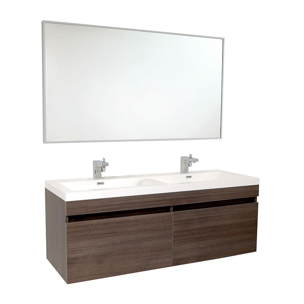 Largo 57 in. Double Vanity in Gray Oak with Acrylic Vanity