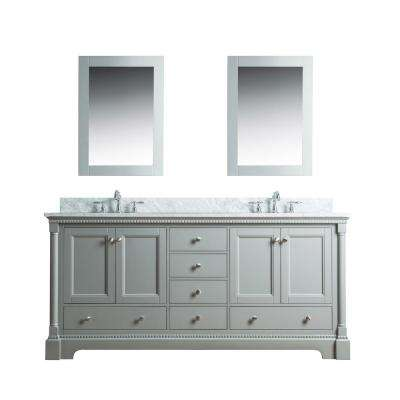 Olivia 72 in. W x 22 in. D Vanity in Gray with Marble Vanity Top in White with White Basin