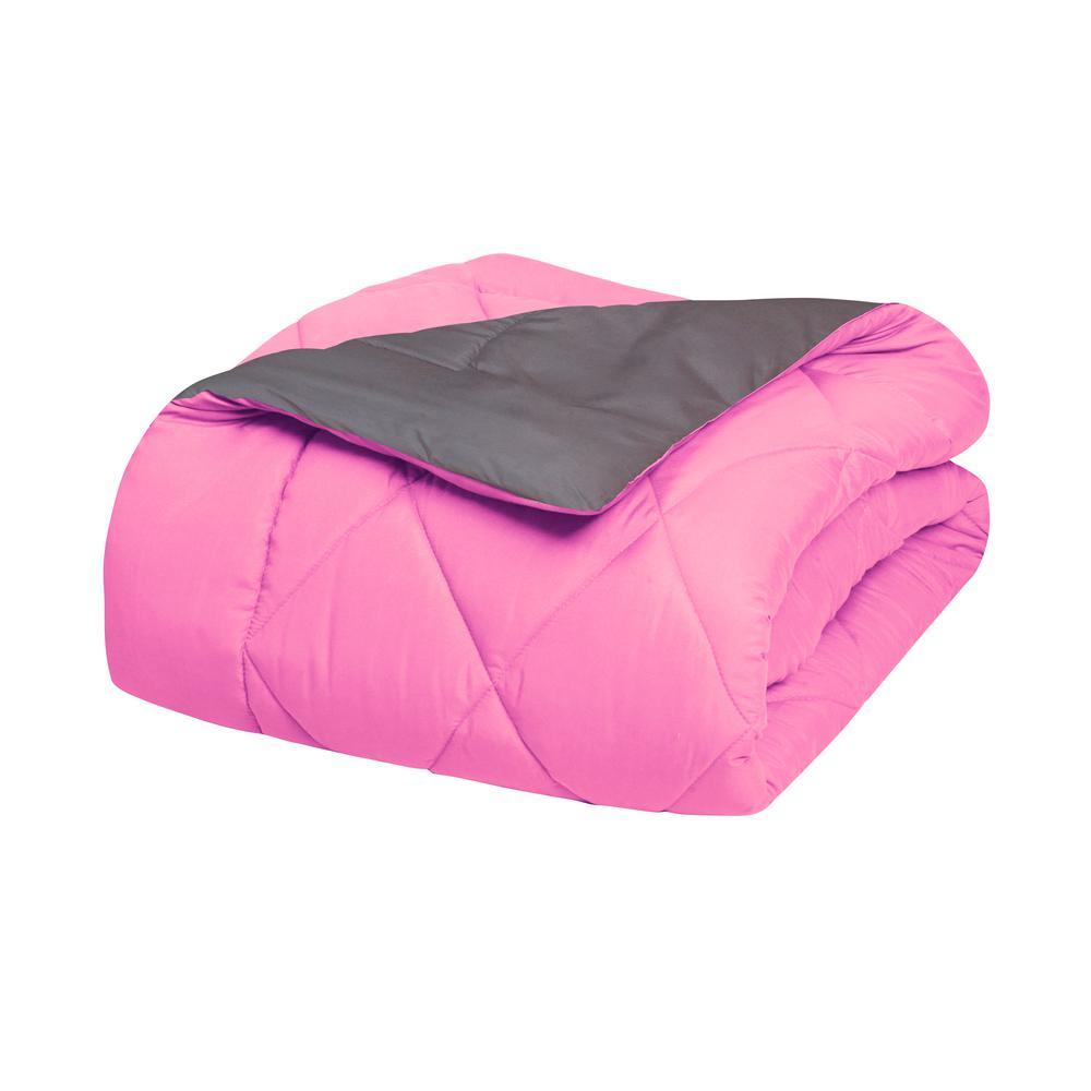 f21fc96325be4f Elegant Comfort Down Alternative Pink and Gray Reversible Full/Queen  Comforter Set