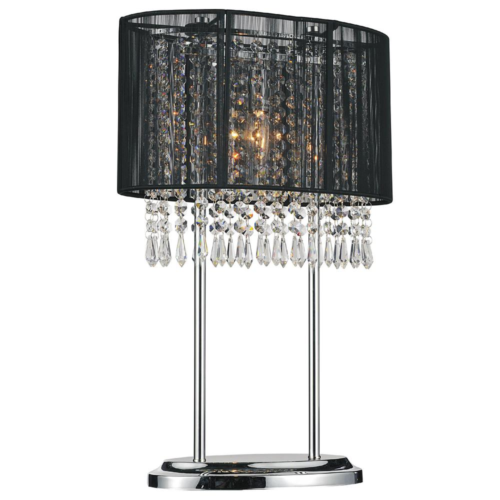 Crystal world sheer 20 in chrome table lamp with black shade chrome table lamp with black shade mozeypictures Images