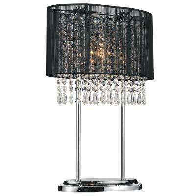 Sheer 20 in. Chrome Table Lamp with Black Shade