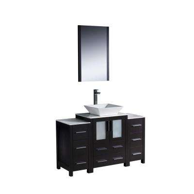 Torino 48 in. Vanity in Espresso with Glass Stone Vanity Top in White with White Basin and Mirror with 2 Side Cabinets