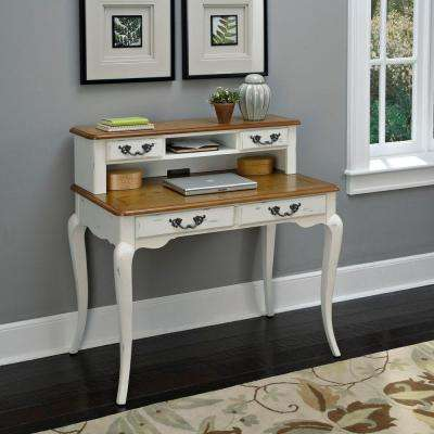 Rubbed White and Distressed Oak Hutch with Hutch