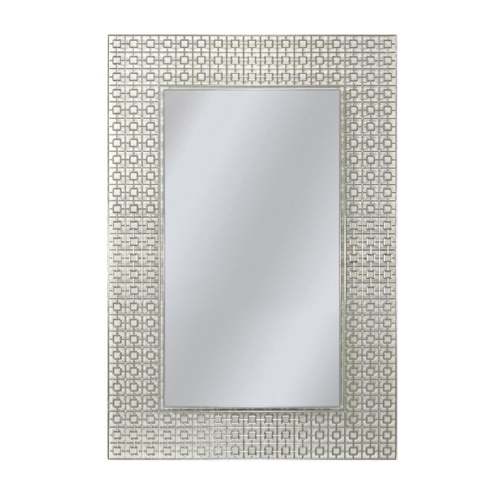 Deco Mirror 36 in. x 24 in. Etched Geometric Wall Mirror-6281 - The ...