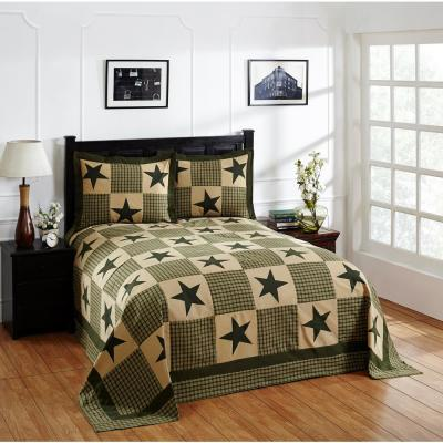 Star Collection  Green & Gold King 100% Cotton Patchwork Bedspread Set