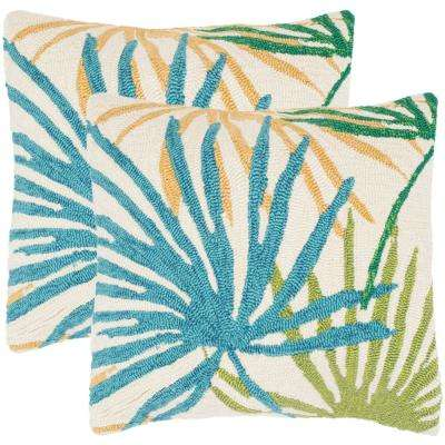 Tropical Flower Soleil Square Outdoor Throw Pillow (Pack of 2)