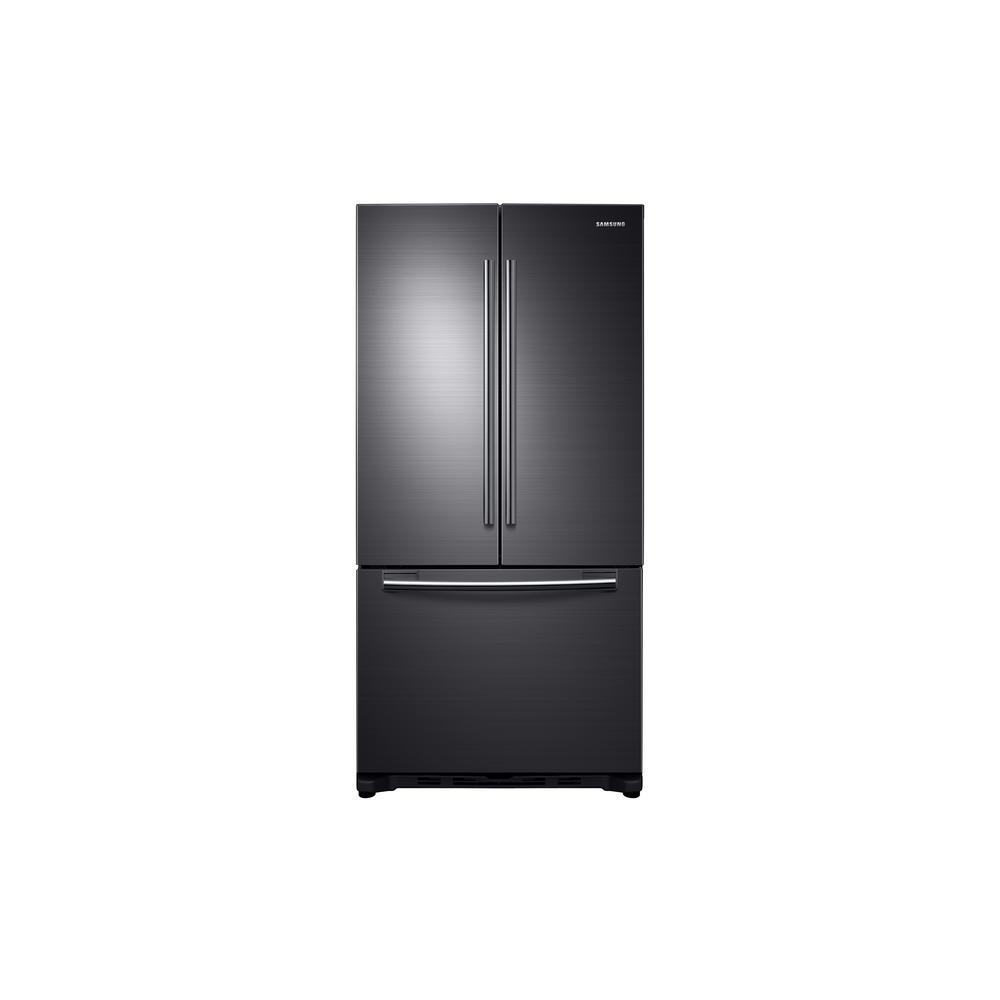 Samsung 33 in. W 17.5 cu. ft. French Door Refrigerator in Black ...