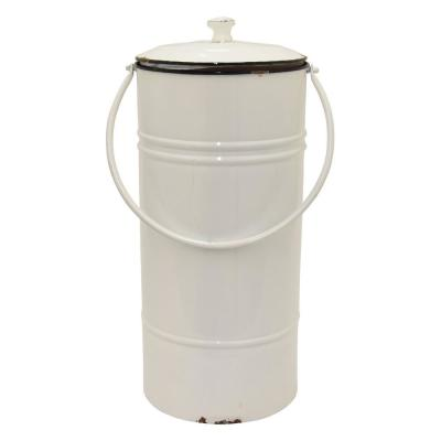 23.5 in. Metal White Canister with Lid