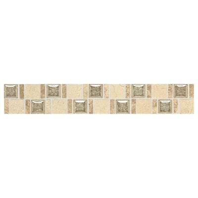 Stone Decorative Accents Crackle Fantasy 1-7/8 in. x 12 in. Marble and Glass Accent Wall Tile (0.1575 sq. ft. / piece)