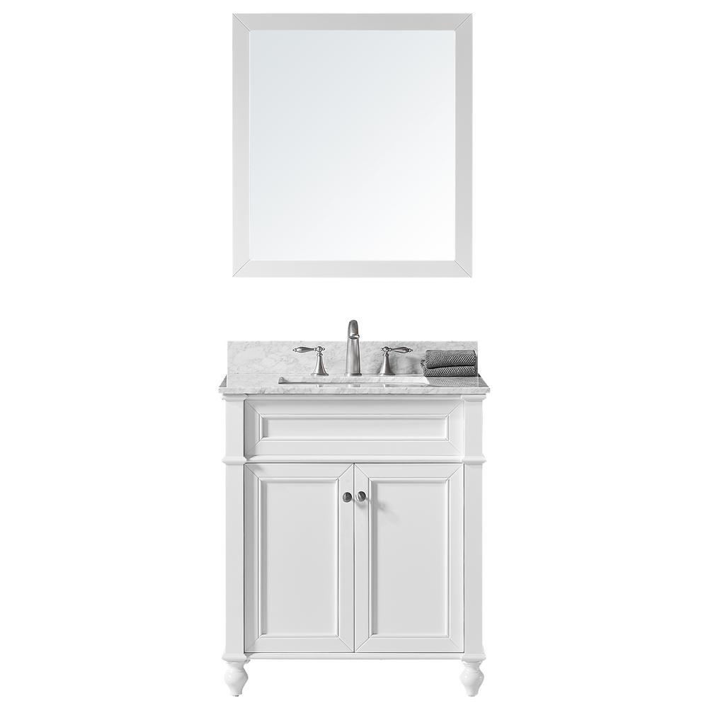 Margaux 30 in. W x 22 in. D x 34.2 in. H Bath Vanity in White w/ Marble Vanity Top in White w/ White Basin and Mirror