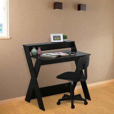 Modern Simplistic Espresso Criss-Crossed Study Desk