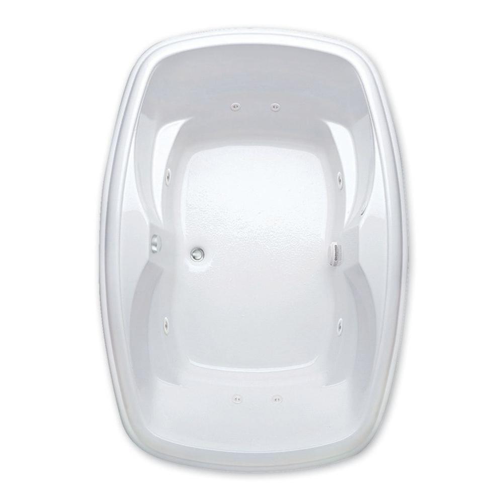Azra I 5 ft. Center Drain Acrylic Whirlpool Bath Tub Pump Location 2 in White