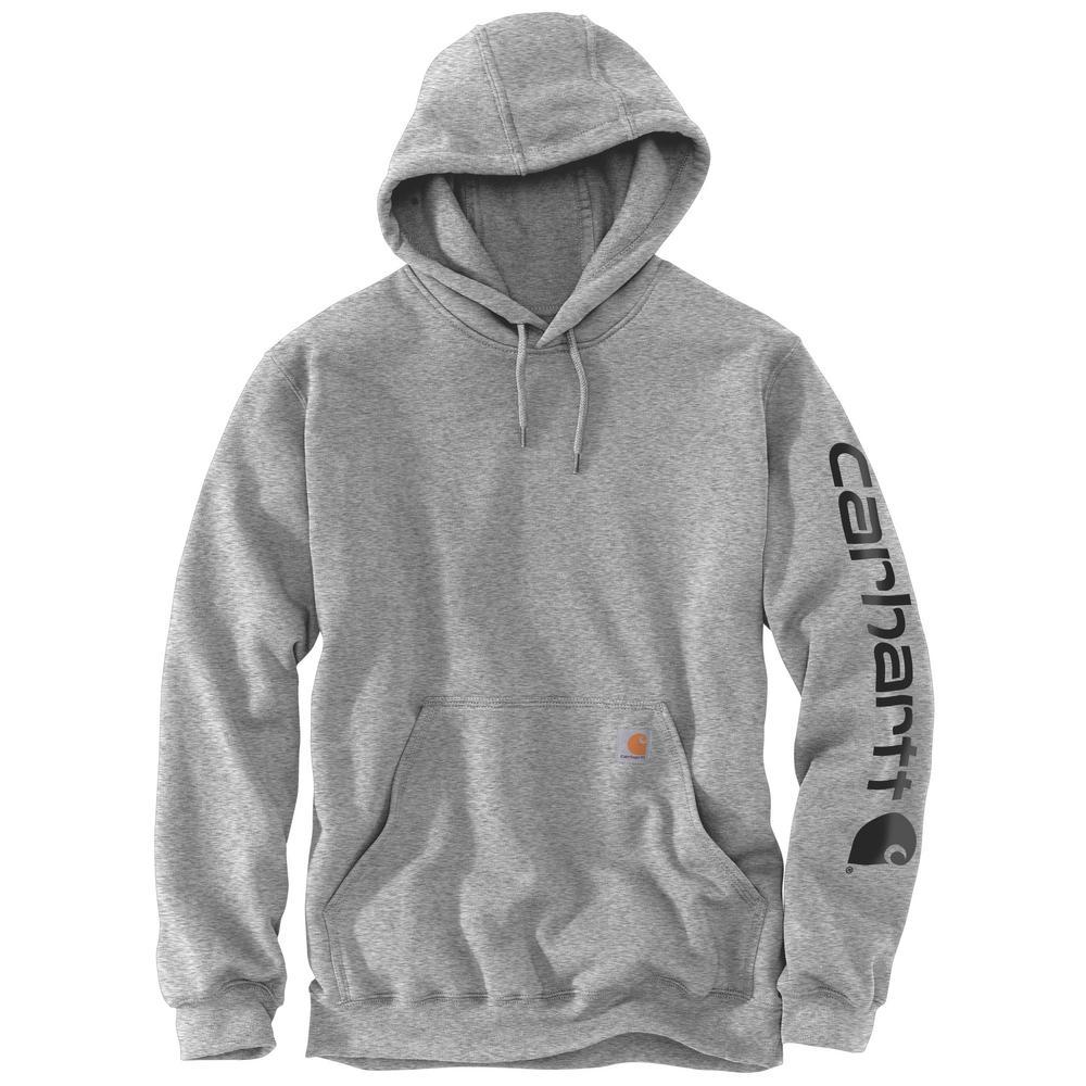 Men's Extra Large Heather Gray/Black Cotton/Polyester Midweight Signature Sleeve Logo Sweatshirt Hooded