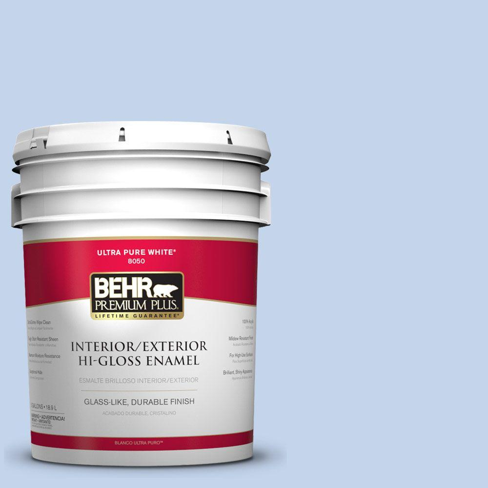 BEHR Premium Plus 5-gal. #580A-3 Rain Song Hi-Gloss Enamel Interior/Exterior Paint
