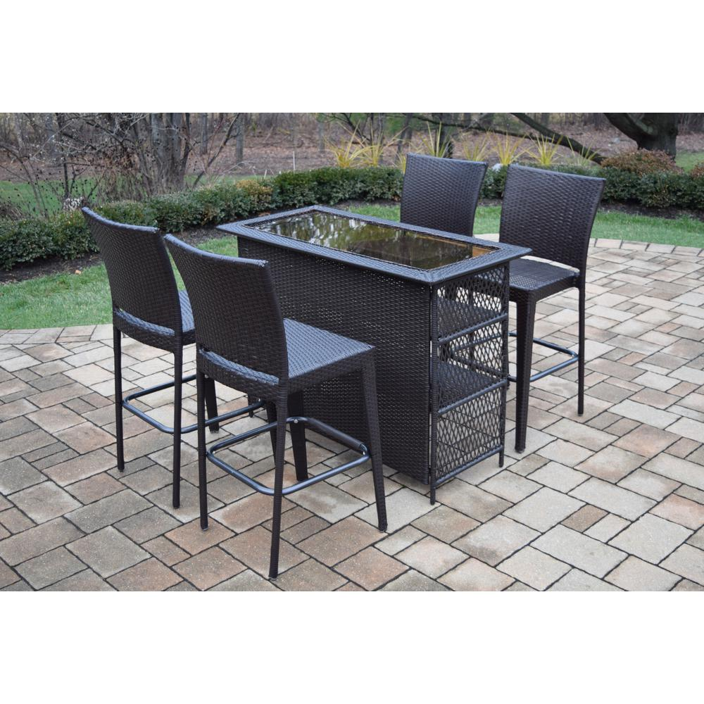 Elite 5-Piece Wicker Outdoor Bar Height Dining Set
