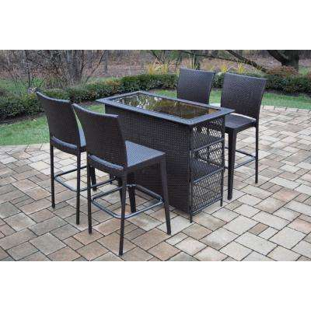 Elite 5-Piece Wicker Outdoor Bar Height Dining Set