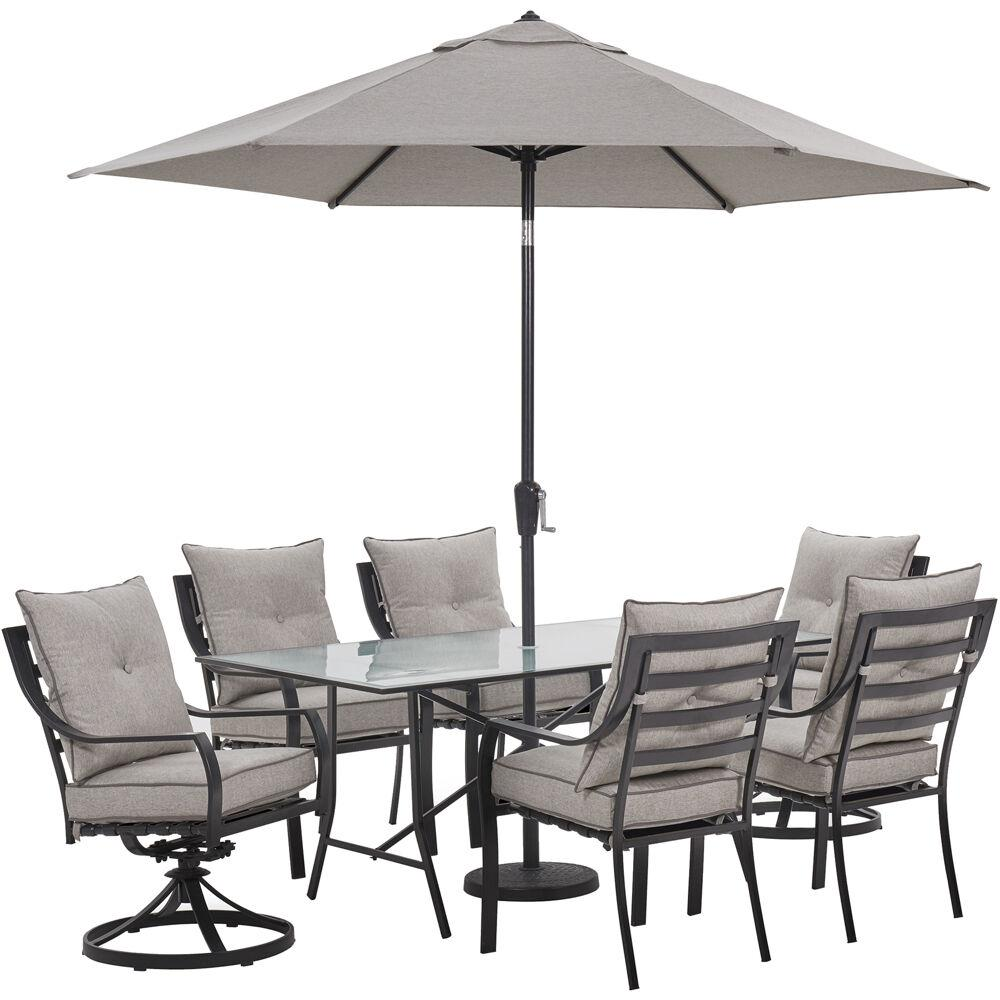 6bbdd68ec011 Hanover Lavallette 7-Piece Steel Outdoor Dining Set with Silver Linings  Cushions, Chairs,