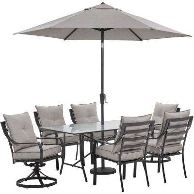 Lavallette 7-Piece Steel Outdoor Dining Set with Silver Linings Cushions, Chairs, Swivel Rockers, Table, Umbrella/Base