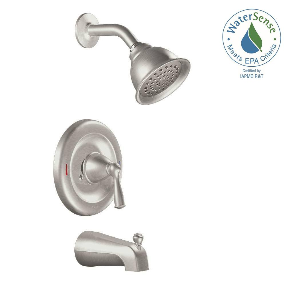 one piece shower faucet. MOEN Banbury Single Handle 1 Spray Tub and Shower Faucet with Valve in Spot