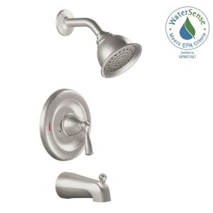 Awesome MOEN Banbury Single Handle 1 Spray Tub And Shower Faucet With Valve In Spot  Resist Brushed Nickel (Valve Included) 82910SRN   The Home Depot