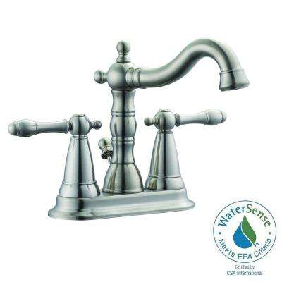 Oakmont 4 in. Centerset 2-Handle Bathroom Faucet in Satin Nickel