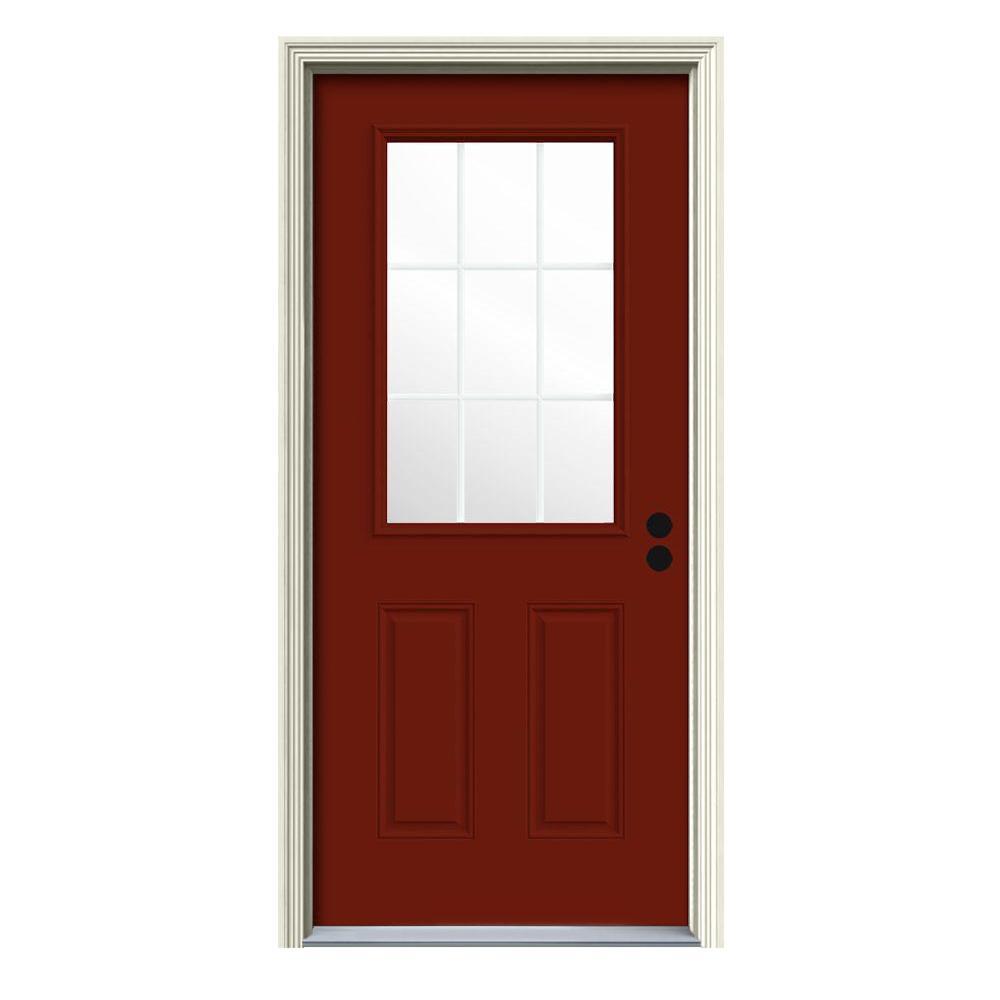 36 in. x 80 in. 9 Lite Mesa Red Painted Steel Prehung Left-Hand Inswing Front Door w/Brickmould