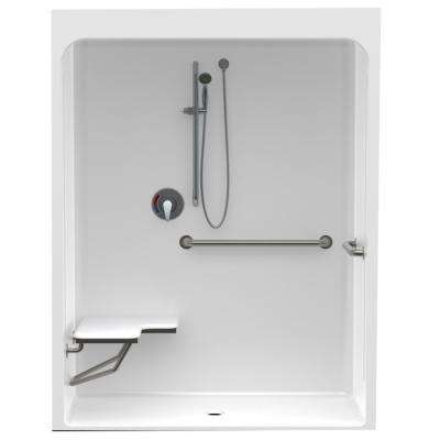Accessible Smooth Wall Cast Acrylic 60in. x 36in. x 79in. 1PC Shower Kit, LH Seat & Grab Bars with Center Drain in White