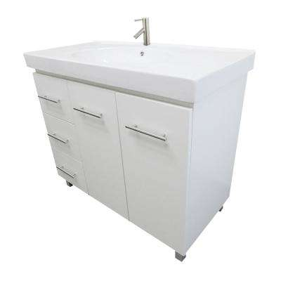Pam L 39.6 in. W x 18.9 in. D Bath Vanity in White with Ceramic Vanity Top in White with White Basin