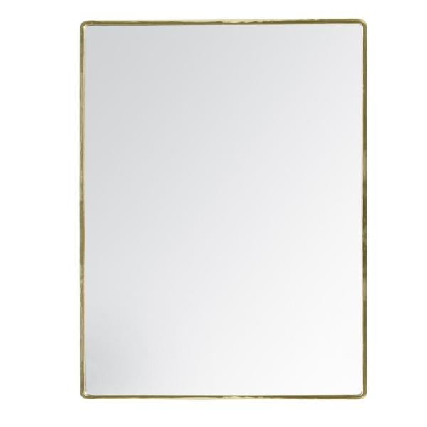 Medium Rectangle Gold Hooks Contemporary Mirror (24 in. H x 18.75 in. W)