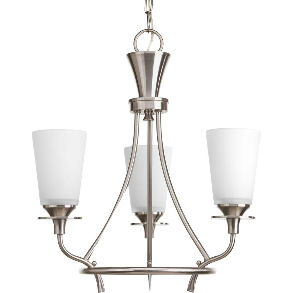 Cantata Collection 3-Light Brushed Nickel Chandelier with Shade with Etched