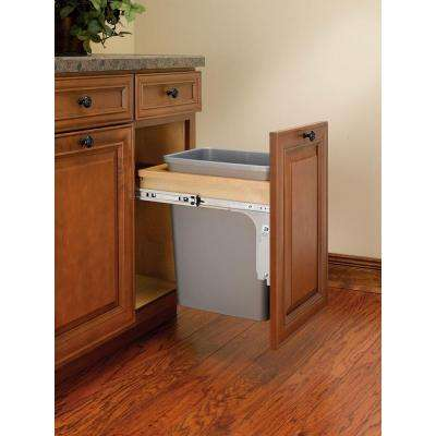 Single 35 Qt. Pull-Out Top Mount Wood and Silver Waste Container for 12 in. W x 18 in. D 1-1/2 in. Face Frame Cabinet