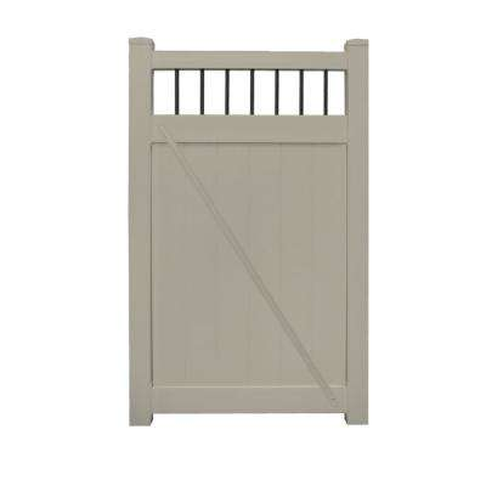 Bradford 3.7 ft. W x 5 ft. H Khaki Vinyl Privacy Fence Gate Kit