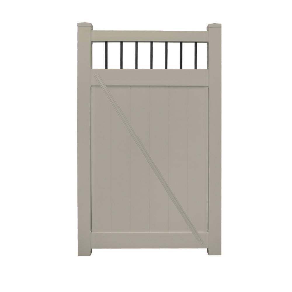 Bradford 3.7 ft. W x 6 ft. H Khaki Vinyl Privacy Fence GateKit