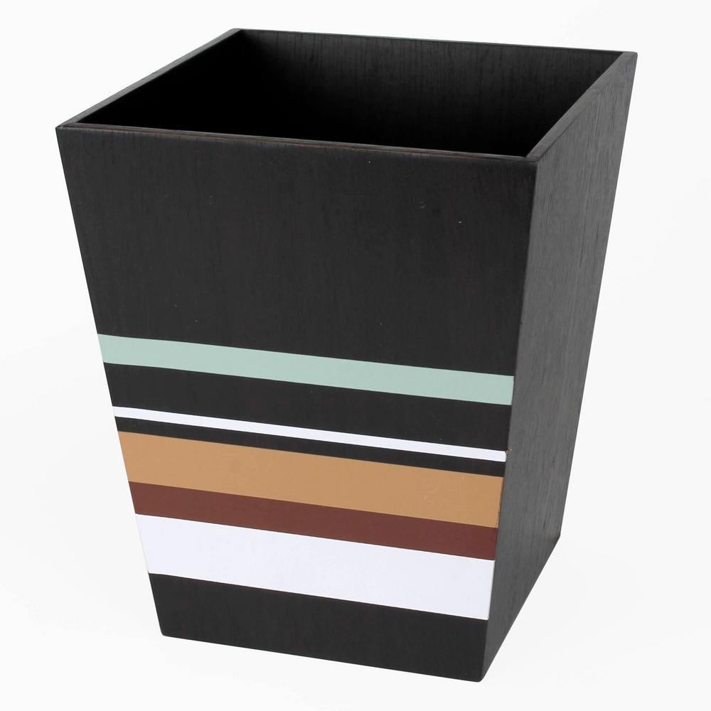 Saturday Knight Jessen Stripe Freestanding Wastebasket in Brown by Saturday Knight