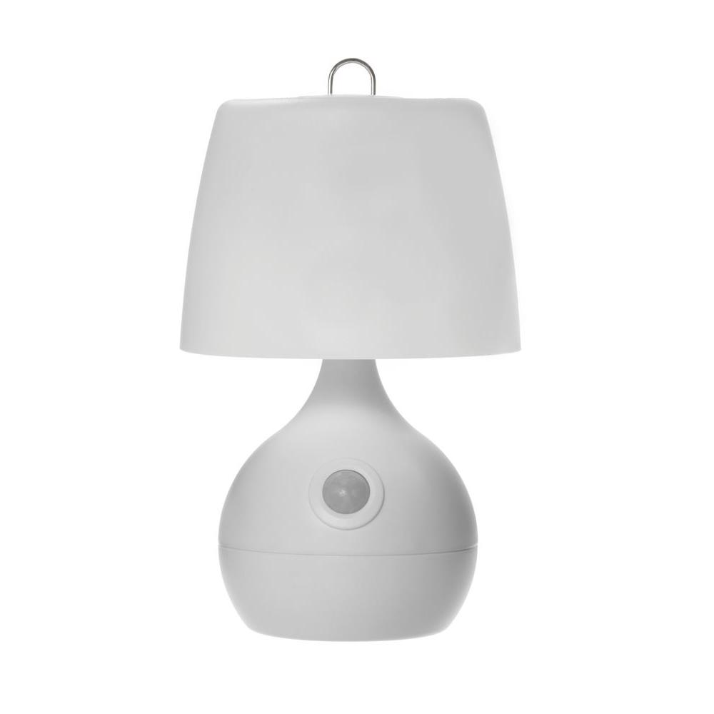 9 in. White Wireless Motion-Activated 8-LED Table Lamp
