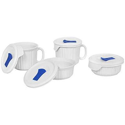 French White 8-Piece Round Stoneware Pop-Ins Mug Set with Vent Tab Lids