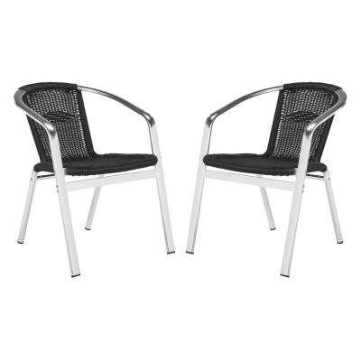 Wrangell Stacking Aluminum Outdoor Dining Chair in Black (Set of 2)