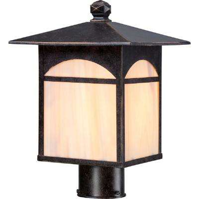 Annabelle 1-Light Outdoor Umber Bronze Post Light with Honey Stained Glass