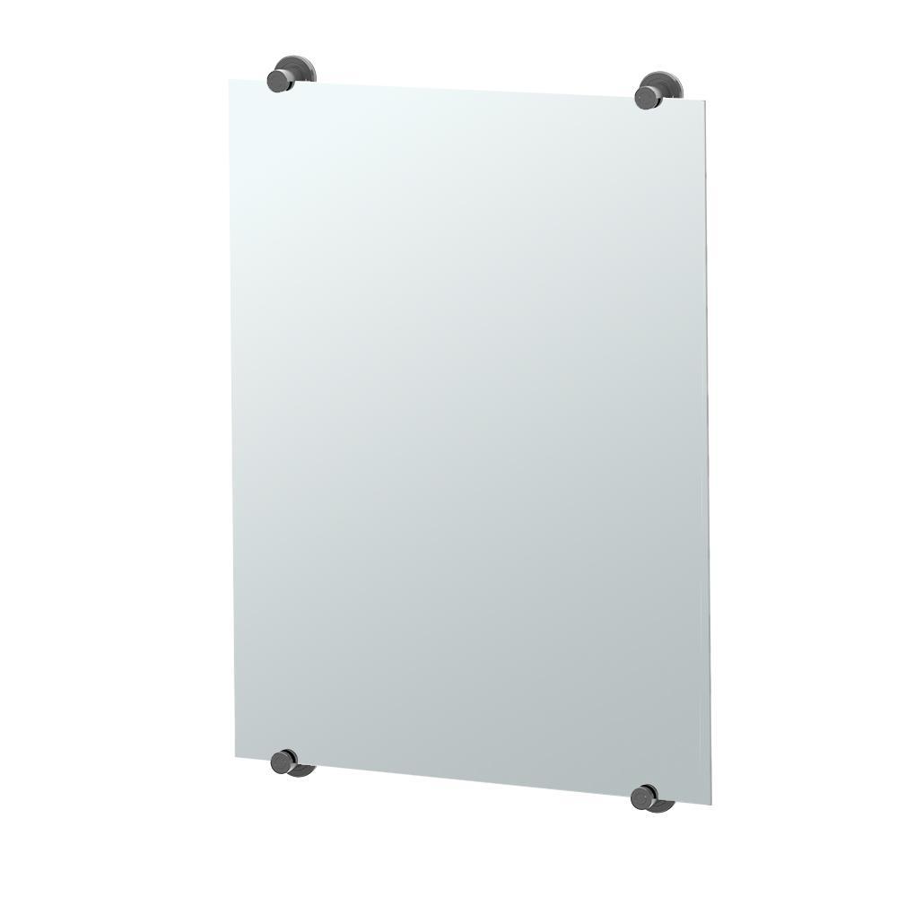 Latitude II 32 in. x 22 in. Minimalist Frameless Mirror in Matte Black