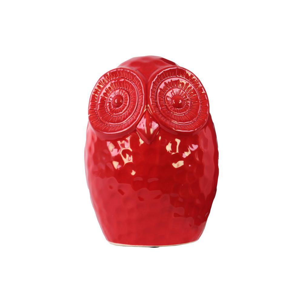 Urban Trend 9 in. H Owl Decorative Figurine in Red Gloss ...