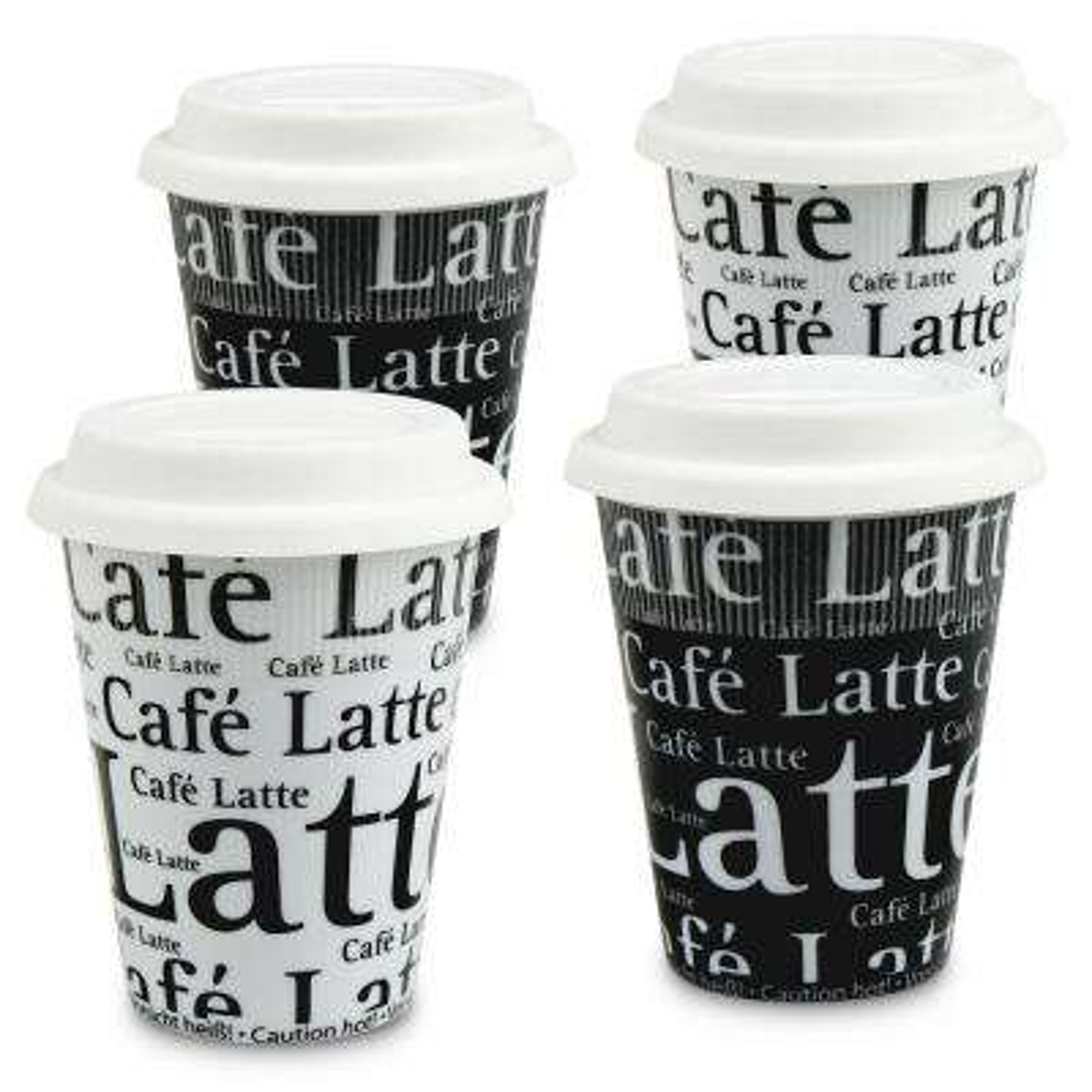 Konitz 4-Piece Assorted Cafe Latte Writing on Black and White Porcelain Travel Mug Set